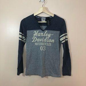 Harley Davidson Henley Style Top